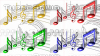 Music Notes in four colors