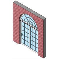 Wood Exterior Sliding Patio Door, Single With Half Round Transom
