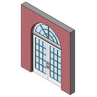 Wood Exterior Swing Door, Double With Half Round Transom
