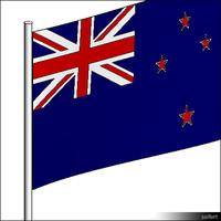 Flag NewZealand Pole 00308se