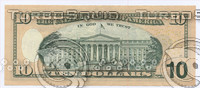 100, 1, 10,  dollar banknotes . back side
