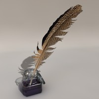 maya ink-bottle feather