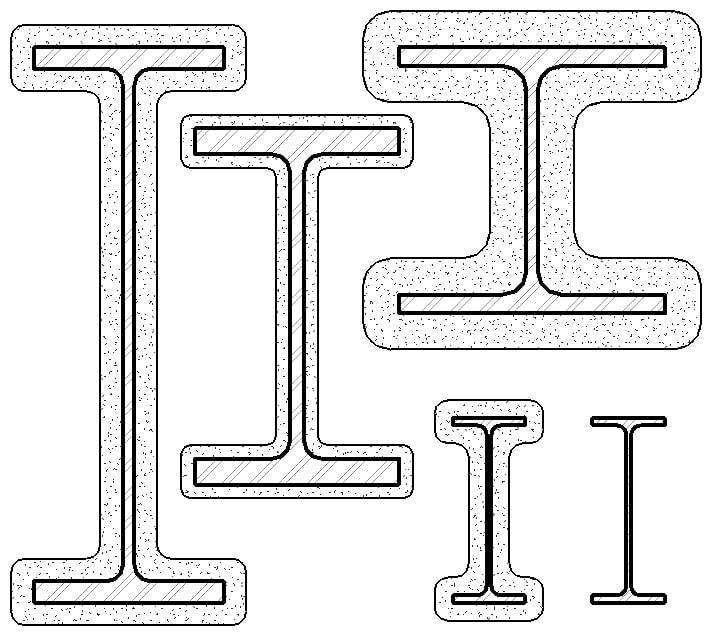 Wide Flange Fireproof : Revit component wide flange ds