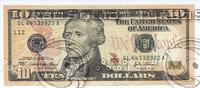 10 , 100,1 , dollars banknotes.