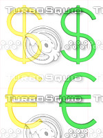 green gold dollar euro sign