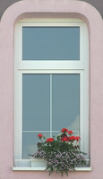 Pink window with flowers