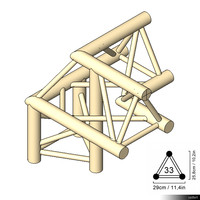 Truss 33 Corner 3-way 90 apex up right 00188se