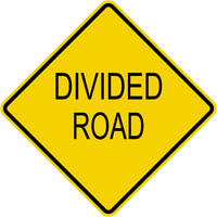 Caution Divided Road