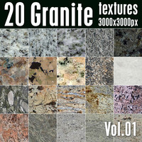 20 High Res Seamless Granite Textures Vol.01
