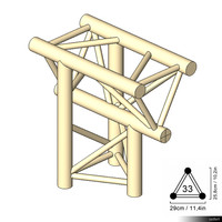 Truss 33 Corner 3-way T apex down 00197se