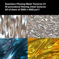 30 High definition procedural flowing metals textures. Completely seamless and tileable.