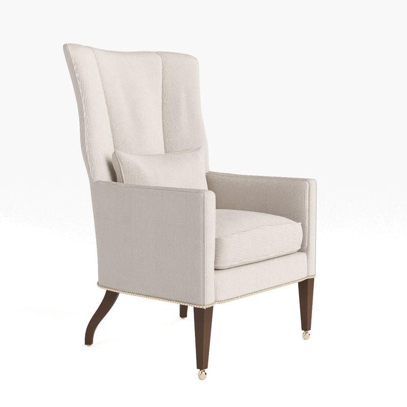 3d model of baker wing chair