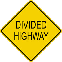 Caution Divided Highway