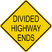 Caution Divided Highway Ends