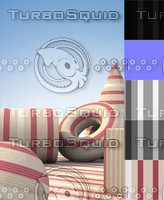 Red, Tan and White Striped Fabric