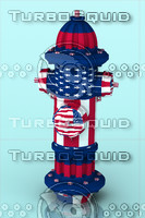 American Flag. Red fire hydrant