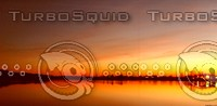 lake - sunset - orange - pano
