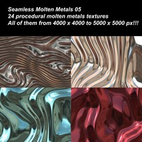 24 High definition procedural molten metals textures.
