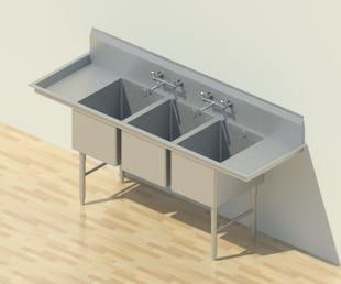 Building Other Sink Compartment Three Commercial Kitchen Stainless Steel