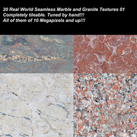 20 High definition real world seamless marbles, granites and stones textures.