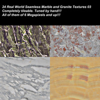 24 High definition real world seamless marbles, granites and stones textures.