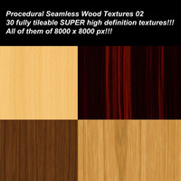 30 SUPER high definition procedural seamless wood textures.