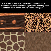 24 high definition procedural animal skins.