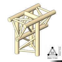 Truss 33 Corner 3-way T apex down 00196se