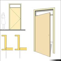 Door Swing Single Transom 00233se