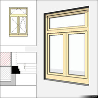 Window Casement Double Transom 00235se