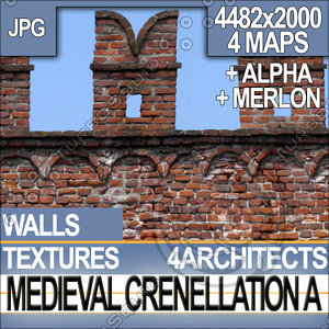 Medieval Crenellation Wall Texture & Material A