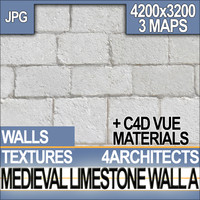 Medieval White Limestone Wall & Material A