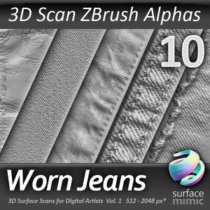 Worn Jeans ZBrush Alphas vol.1