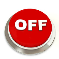Red button with text OFF