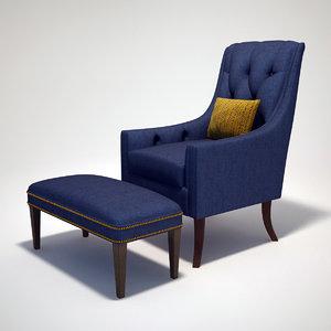 long classical chair 3d max