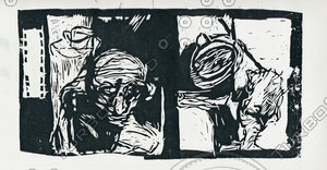 nervous linocut (people)