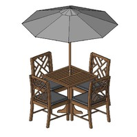 Patio Table with Chair and Umbrellas