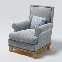 long classical chair 3d model