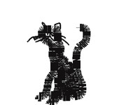 abstract black cat isolated on white background