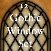 12 Gothic Pointed Arch Window Texture Set