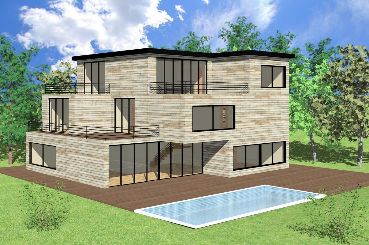 3d rvt modern house Drawing modern houses