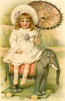 Old postcard  Girl with elephant