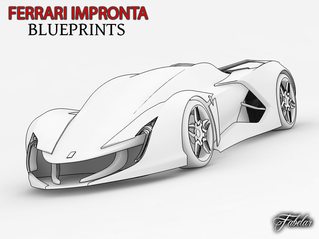 Concept Supercar Blueprints Models And Textures Turbosquid Com