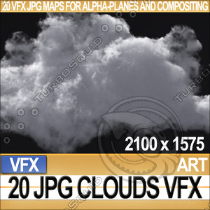 Visual FX Clouds 20 JPG Maps for Alpha-Planes Compositing