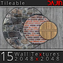 15 Wall Textures Tileable 2048x2048