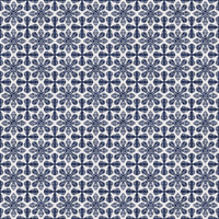 Coordinated Cottons - Navy on White Damask