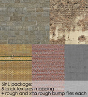 5 brick textures bumps package