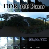 HDR 360 pano Jungle Waterfall