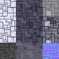 Seamles tile stone floor texture set