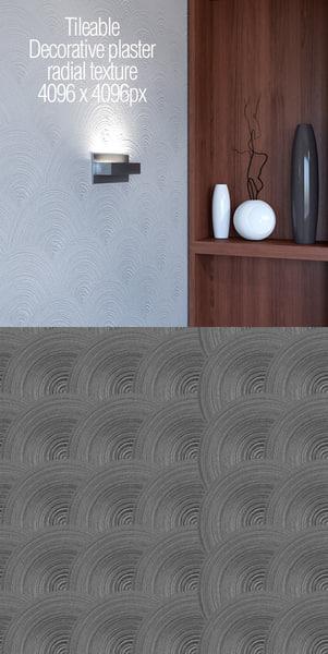 Tileable decorative plaster radial texture